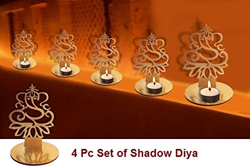4 Pc Set Lord Ganesha Shape Diwali Shadow Diya. Deepawali Traditional Decorative Diya in Lord Ganesha Shape for Home/Office..Religious Tea Light Candle Holder Stand. Diwali Decoration Diwali Gift Diwali Candles
