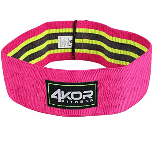 4KOR Fitness Hip Band Resistance Loop Circle Perfect for Dynamic Warm-Ups and Activating Hips and Glutes (Pink/Grippy, Medium) (Best Fitness Band On The Market)