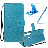 Blue Leather Case for Samsung Galaxy A9 2018,Strap Wallet Case for Samsung Galaxy A9 2018,Herzzer Bookstyle Classic Elegant Pretty Flower Design Magnetic Stand Flip Leather Case with Soft TPU