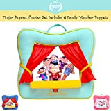 Image of Finger Puppet Theater Stage - Set Includes 6 Finger Family Puppets - Portable Plush Finger Puppet Theater is the Best Preschool Kids Toy by Better Line (Spring Green Color)