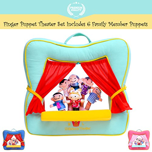 Finger Puppet Theater Stage - Set Includes 6 Finger Family Puppets - Portable Plush Finger Puppet Theater is the Best Preschool Kids Toy by Better Line (Spring Green Color)