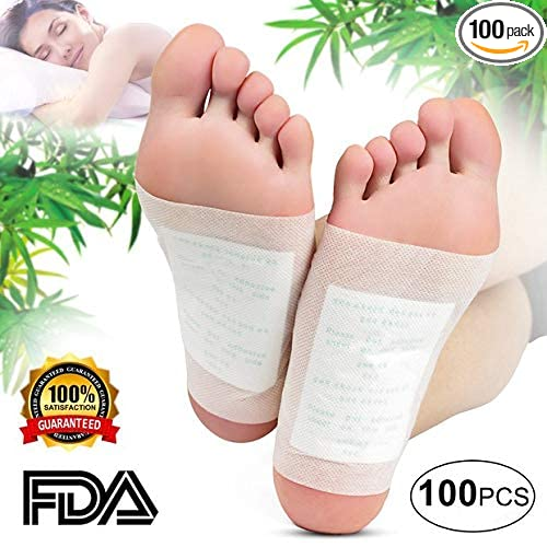 Foot Pads   (100pcs) Natural Cleansing Foot Pads For Foot Care, Sleeping & Anti Stress Relief, No Stress Package   100 Packs by Bon'time