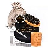 Beard Grooming Kit for Men Care, Beard Brush, WONTECHMI Beard Comb, Beard Boar Bristle Brush, Mustache and Beard Balm Butter Wax, Barber Scissors for Styling, Shaping and Growth, Gift for Men