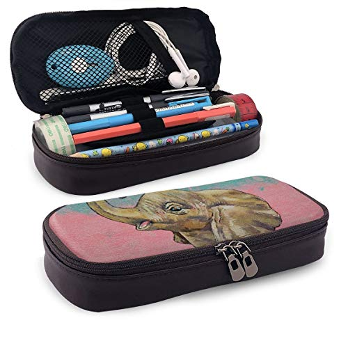 Pen Pencil Case PU Leather Baby Elephants Zippered Pouch for Men Storage Work Stationery Bag Holder Students Office…