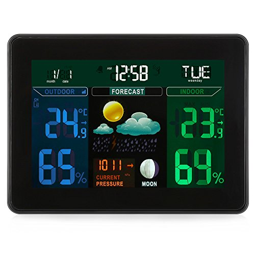 EARME Digital Wireless Weather Station,Indoor/Outdoor with 2 Wireless Sensor,Digital LCD Display Alarm Clock Calendar Function for Temperature, Humidity, Time, Calendar &Weather ()