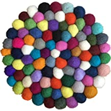 Hand Made Rainbow-colored Wool Felt Balls Coasters placemats coffee Coasters JJ008-20A-1