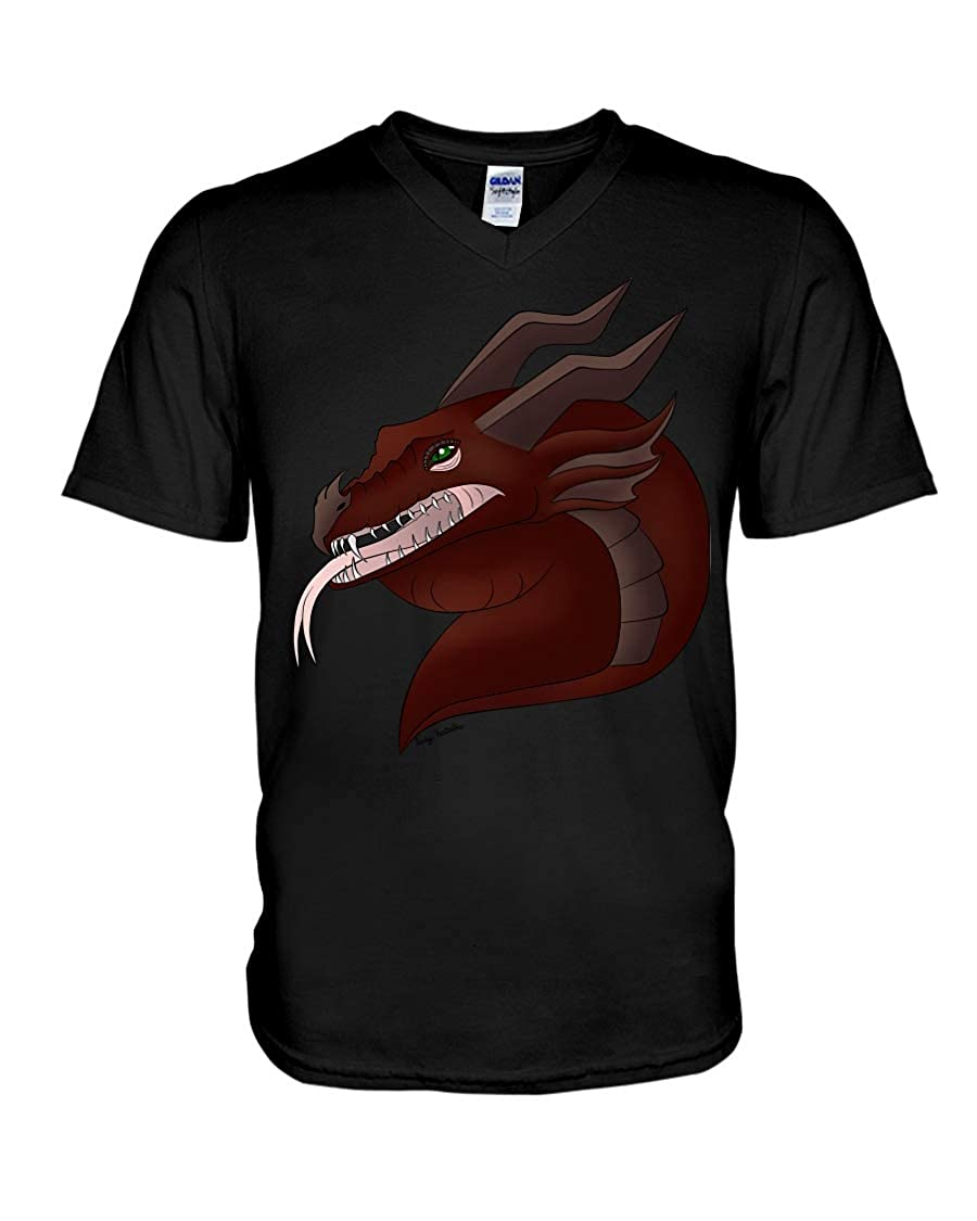 Linda Youngss Medieval Dragon V-Neck T-Shirt Black 2XL