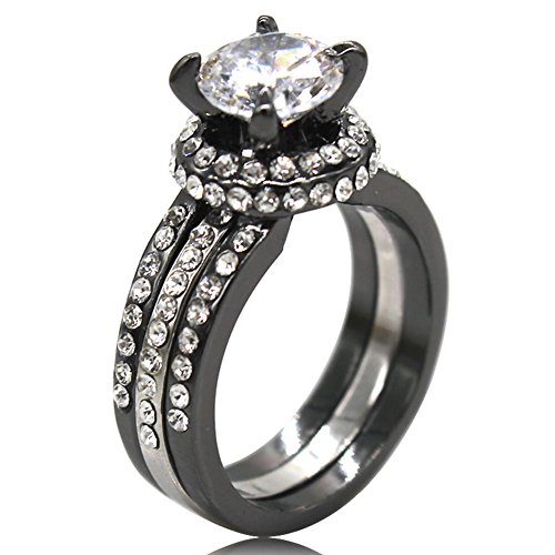 Cluster Engagement Ring Setting (Black Silver Two-Tone Plated 4.0 Carat Wedding Engagement Ring (7))