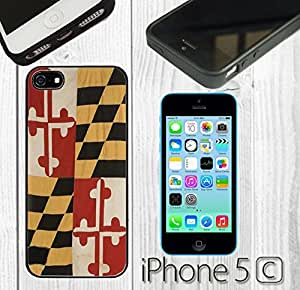 Creative Vintage Rustic Maryland State Flag Custom made Case/Cover/Skin FOR iPhone 5C Color -Black- Rubber Case (Ship From CA)