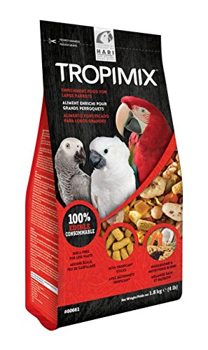 Tropimix Large Parrot Food Mix, Premium Blend of Human-Grade Grains, Legumes, Nuts, Fruits and Vegetables, 4 lb Bag
