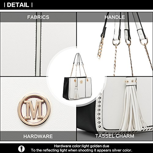 Design White Shoulder Tassel Chain Women M Fashion Leather Handbags PU Ornaments Brand Miss Front for Ladies Strap Bag Lulu 1qUWHZnwft