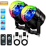 SOLMORE Disco Ball Party Lights LED Strobe Light Disco Lights 7Colors Sound Activated DJ Lights Stage Lights with Remote for Gift Kids Birthday Wedding Home Karaoke Dance Light (with USB) [2-Pack]