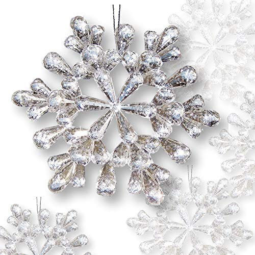 (BANBERRY DESIGNS Snowflake Ornaments - Set of 12 Clear Glitter Acrylic Snow Flakes - Christmas Snowflake Ornament Set - 4 ½