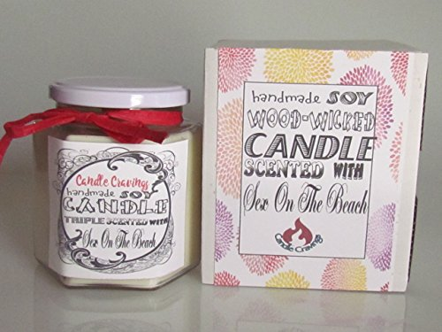 Sex On The Beach Fragrance - Scented Soy Jar Candle With Wood Wick 12 Oz US Handmade