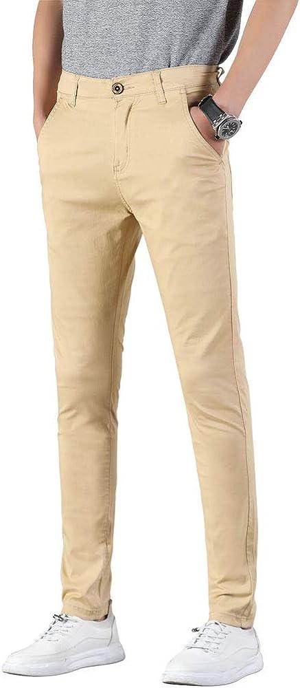 Plaid\u0026Plain Men's Stretchy Khaki Pants