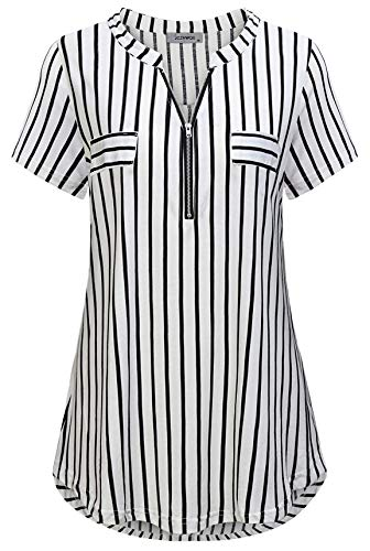 (Striped Tunic, Womens Blouses and Tops Dress V Neck Short Sleeve with Stylish Faux Pockets Tee Shirt for Work Black White)