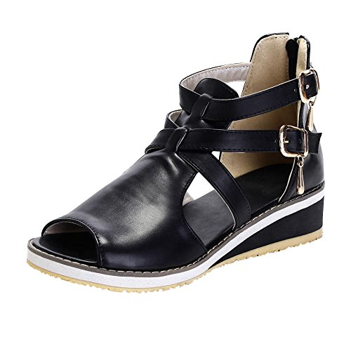 Carol Shoes Casual Women's Buckle Neutral Comfort Zipper Fashion Peep-Toe Low Heel Wedges Sandals (10, - Wedge Low Toe Peep Comfort