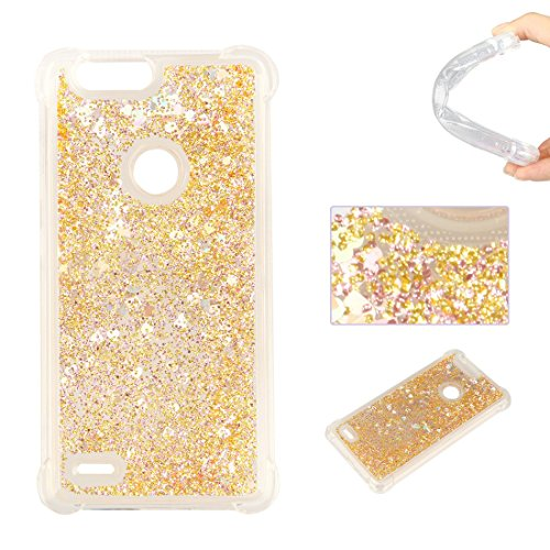 Bling Heart Bling (ZTE Blade Z Max Case, ZTE Sequoia Case, Lwaisy Flowing Liquid Floating Fashion Love Heart Bling Quicksand Anti-Scratch Soft TPU Rubber Protective Cover for ZTE Blade ZMax Pro 2 / Z982 - Gold)