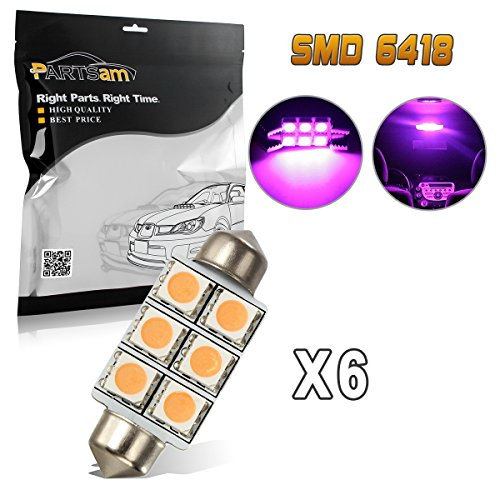 Partsam 6PCS Ultra Purple 36mm Festoon 6 SMD Interior Dome Map Reading LED Lights Lamp for 2008-2010 Dodge Challenger ()