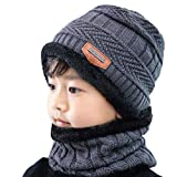 Unisex Kids Children Winter Hats and Scarf Set Thicken Warmer Knitted Fleece Lined Beanie Hat Cap and Scarf Neck Warmers Neckerchief Kids Slouchy Skull Cap for Ski Cycling Outdoor Sports Wear