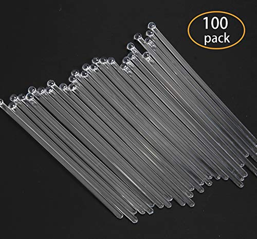 SBYURE 100 Pieces 7.4 Inch Disposible Plastic Round Top Swizzle Sticks with Crystal Ball Head (Clear) (Plastic Lollipop Sticks)