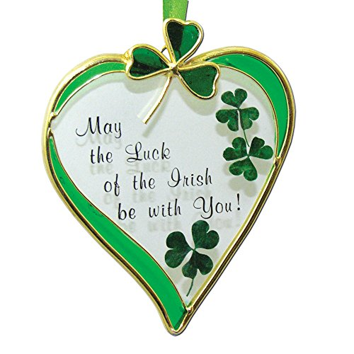 Irish Suncatcher - Glass Heart Sun Catcher with Shamrock Designs - May the Luck of the Irish Be with You - Irish Gift (Shamrock Window)