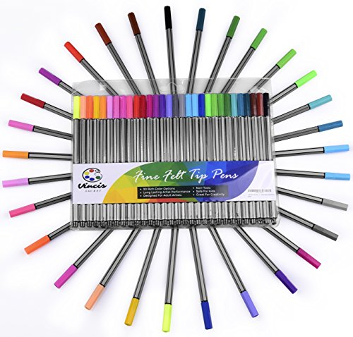 FINE FELT TIP PENS - 30 Pc Colored Pen Art Set For Adult Coloring and Drawing - Draw Rich Details with Colorful Marker Tipped Brush Pens for Flatliner Artist Style + Color EBook For Adults (Felt Tip Pens Fine)