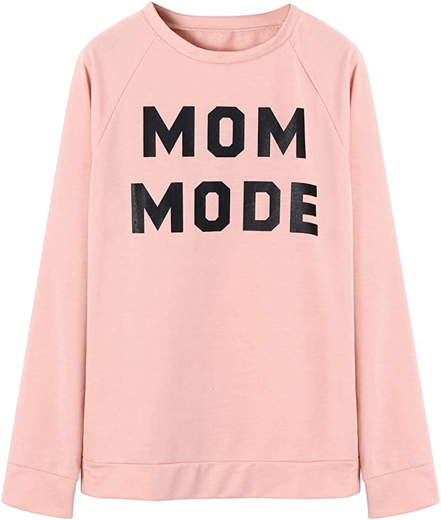 Cropped Sweatshirts for Women,Vintage MOM Mode Print T Shirt Crewneck Retro Graphic Long Sleeve Casual Pullover Tops