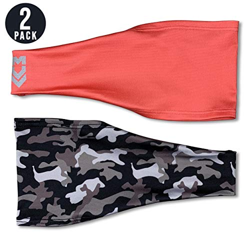 MUV365 Headbands for Women   Workout, Running, Yoga, Wide Sports Head Bands   Headband Protects with SPF 50+, Keeps Sweat from Dripping in Eyes & is Non-Slip (One Size Fits Most, Camo + Coral)