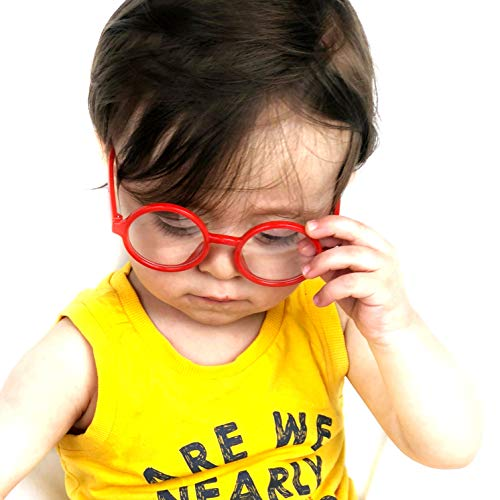 KD01 Baby Infants Toddlers (0~24 months old) Round Clear lens Glasses (Red-clear Lens, UV400)