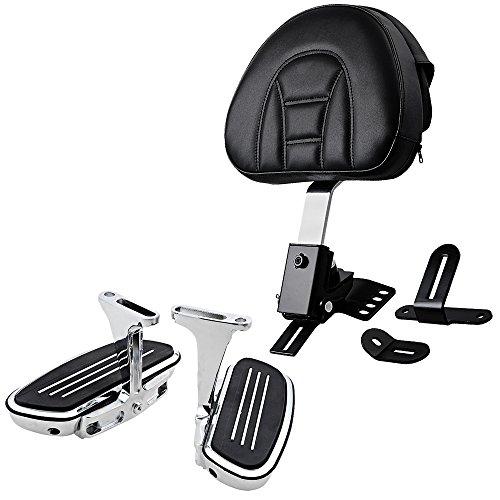 (Adjustable Rider Driver Backrest Pad + Chromed CNC Machined Aluminum Streamliner Passenger Footboard for 1997-2017 Harley Touring Models)