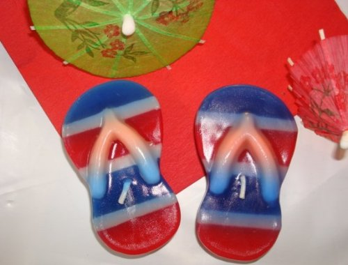 Patriotic Flip Flop Floating Candles - Set of -