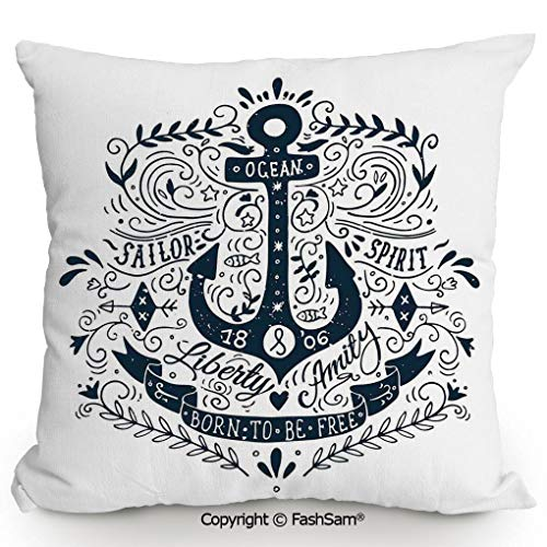 Throw Pillow Covers Old Fashioned Anchor Label with Letters Secure Object in Sailors Life Art Image for Couch Sofa Home Decor(18