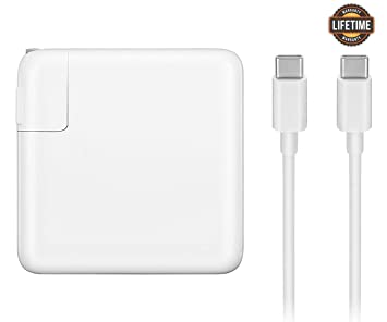 Mac Book Pro Charger, 61W USB-C To USB-C Ac Power Adapter Charger Replacement For MacBook Pro 12 Inch 13 Inch, MacBook Air 2018, With Type-C Charge ...