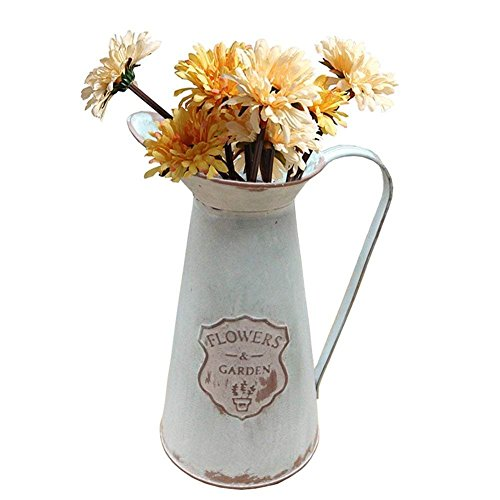 Pitcher Farm (APSOONSELL Rustic Metal Flower Vase Primative Jug pitcher for Country Farmhouse Decor)