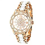 Unique Womens Diamond Watch Rose Gold Plated Steel & White Ceramic Case and Band MOP Face LUXURMAN Galaxy