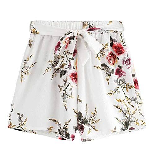 [해외]테 신 여성 캐주얼 여름 반바지 탄성 허리 꽃 프린트 스트레이트 핫 팬츠와 벨트 / Thenxin Women`s Casual Summer Shorts Elastic Waist Floral Print Straight Hot Pants with Belt