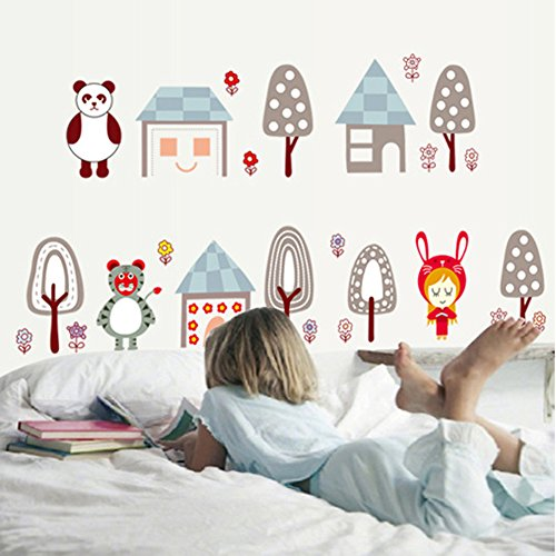 Butterflies Trees Flowers Wall Stickers Cute Cartoon Animals Removable Wall Decals Home Decor PVC Art Mural Baby Boys Girls Kids Bedroom Kitchen Nursery Decoration (Bear Tiger House) (Plastic Mural Tiger)