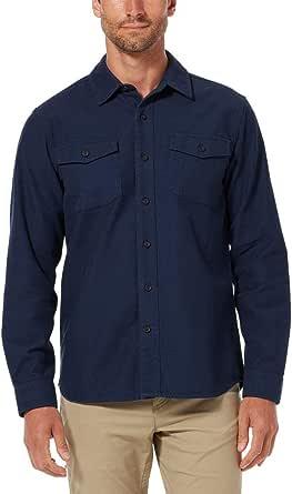Royal Robbins Men's Button Up Long Sleeve Shirt 100% Cotton Organic Cotton Chamois Workshirt Deep Blue (X-Large)