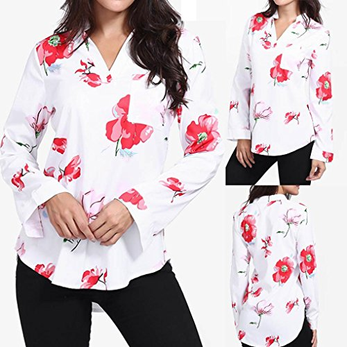 Robe Cou Longues Imprimer V T t Dcontract Blanc Court Haut zahuihuiM Manches Automne Poches Lache Blouse Fit Femmes Mode Shirt Y8wvUq