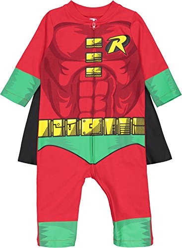 Warner Bros. Justice League Robin Baby Boys' Zip-Up Caped Costume Coverall (18 Months) by Warner Bros. (Image #1)
