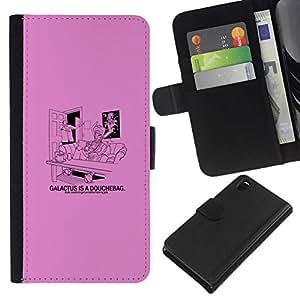 All Phone Most Case / Oferta Especial Cáscara Funda de cuero Monedero Cubierta de proteccion Caso / Wallet Case for Sony Xperia Z3 D6603 // Galactus Douche - Funny