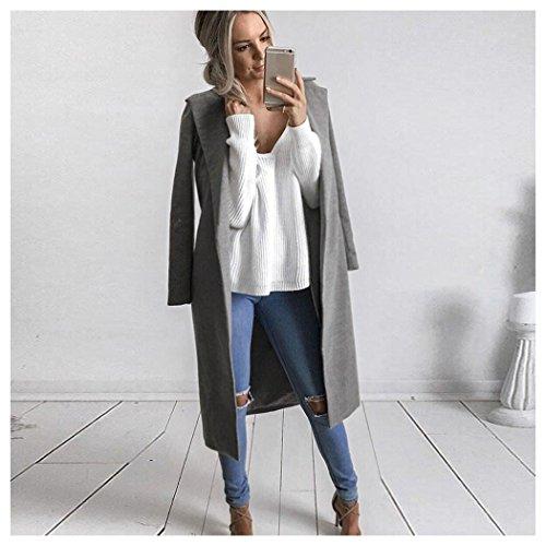 Overcoat Parka Cardigan Long Jacket Coat Fuibo Gray Outwear Lapel Womens Winter IRCwq0R