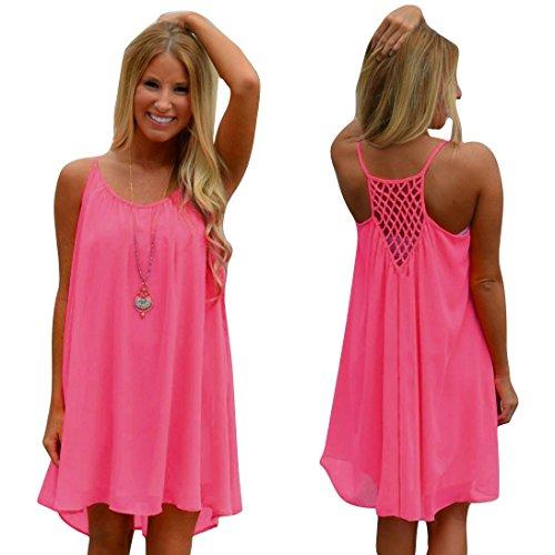 Franterd Dress Womens Spaghetti Strap Back Howllow Out Chiffon Beach Short Dress
