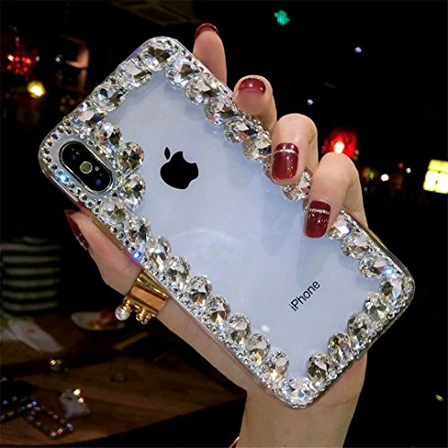 Alcatel Fierce 4 Case,Alcatel Allura Case,Alcatel Pop 4 Plus Crystal Diamond Case, 3D Handmade Luxury Sparkle Crystal Rhinestone Diamond Glitter Bling Clear TPU Case (Border/White)