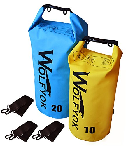 Wolfyok 20L / 10L Dry Bag Roll Top Waterproof Floating Duffle Dry Gear Bag with Adjustable Shoulder Straps for Boating/Kayaking/Fishing/Rafting/Camping/Canoeing/Snowboarding