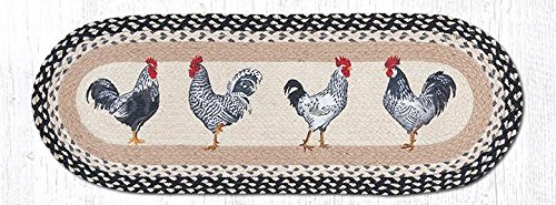 Earth Rugs Jute Table Runners Op-430 Roosters Oval Patch Run