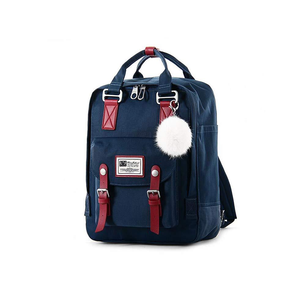 FF 女性のキャンバス10代の女の子のバックパック中学校大学の高校の学校のバッグ中学生の旅行  ダークネイビー B07H6Z469B
