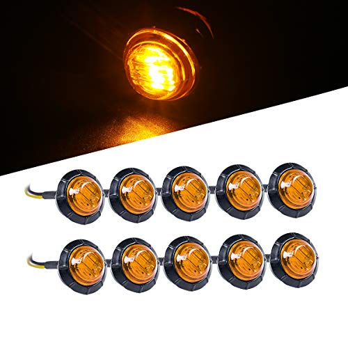 10x Tail Trailer 3/4 Amber LED Light Mini Marker Light Grommet Smoked Lens Universal for 12V Towing Vehicles, Trucks, Trailers, Vans, Pick Up etc (2015 Jeep Grand Cherokee Smoked Tail Lights)