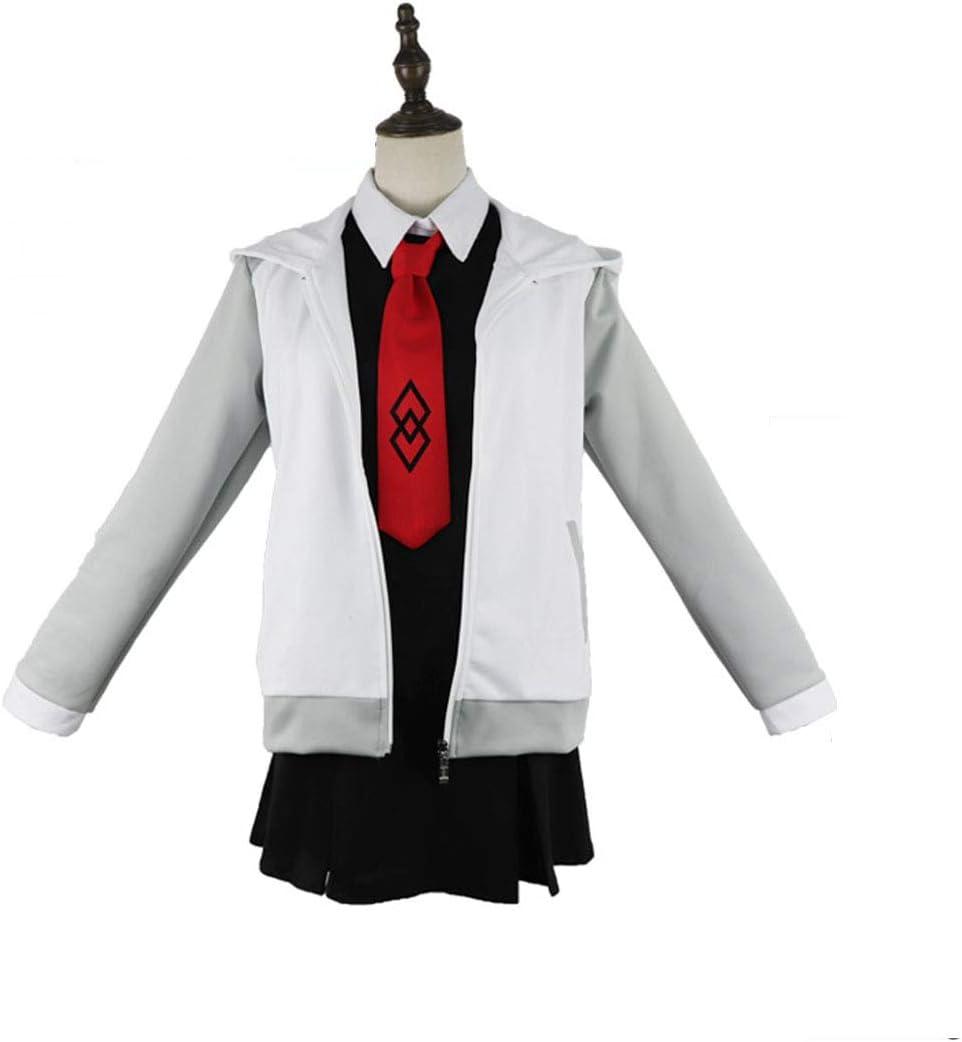 YKJ Anime Cosplay Blanco Gris Chaqueta y Vestido Negro Traje de ...